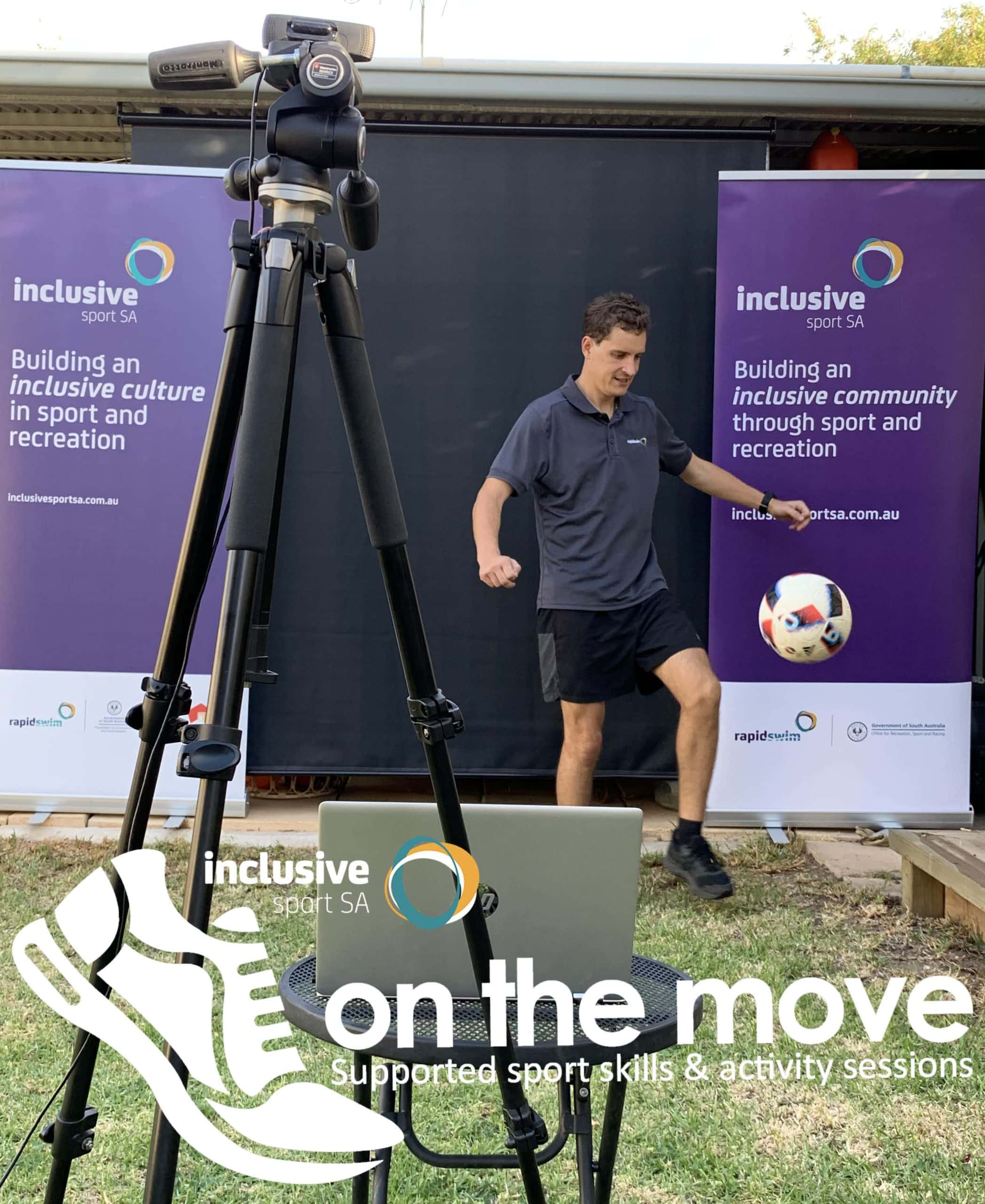 Ben Steer kicking soccer ball with On The Move Logo at the bottom of image