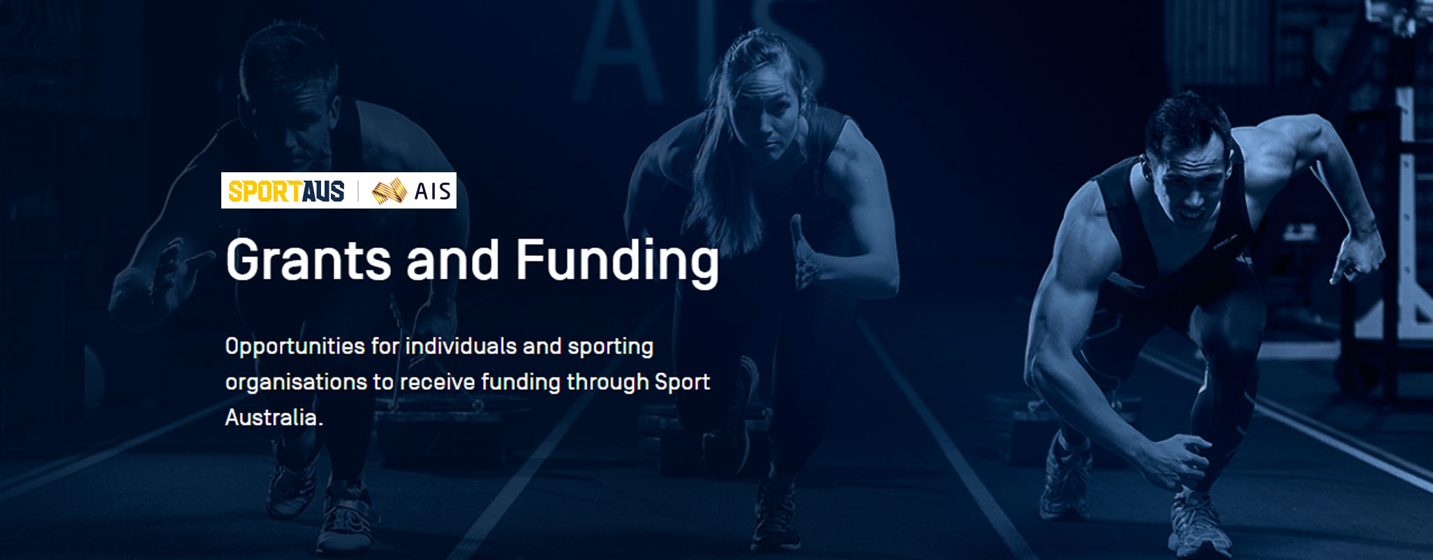 Sport Australia Graphic. 3 athletes running towards camera. text reads grants and funding