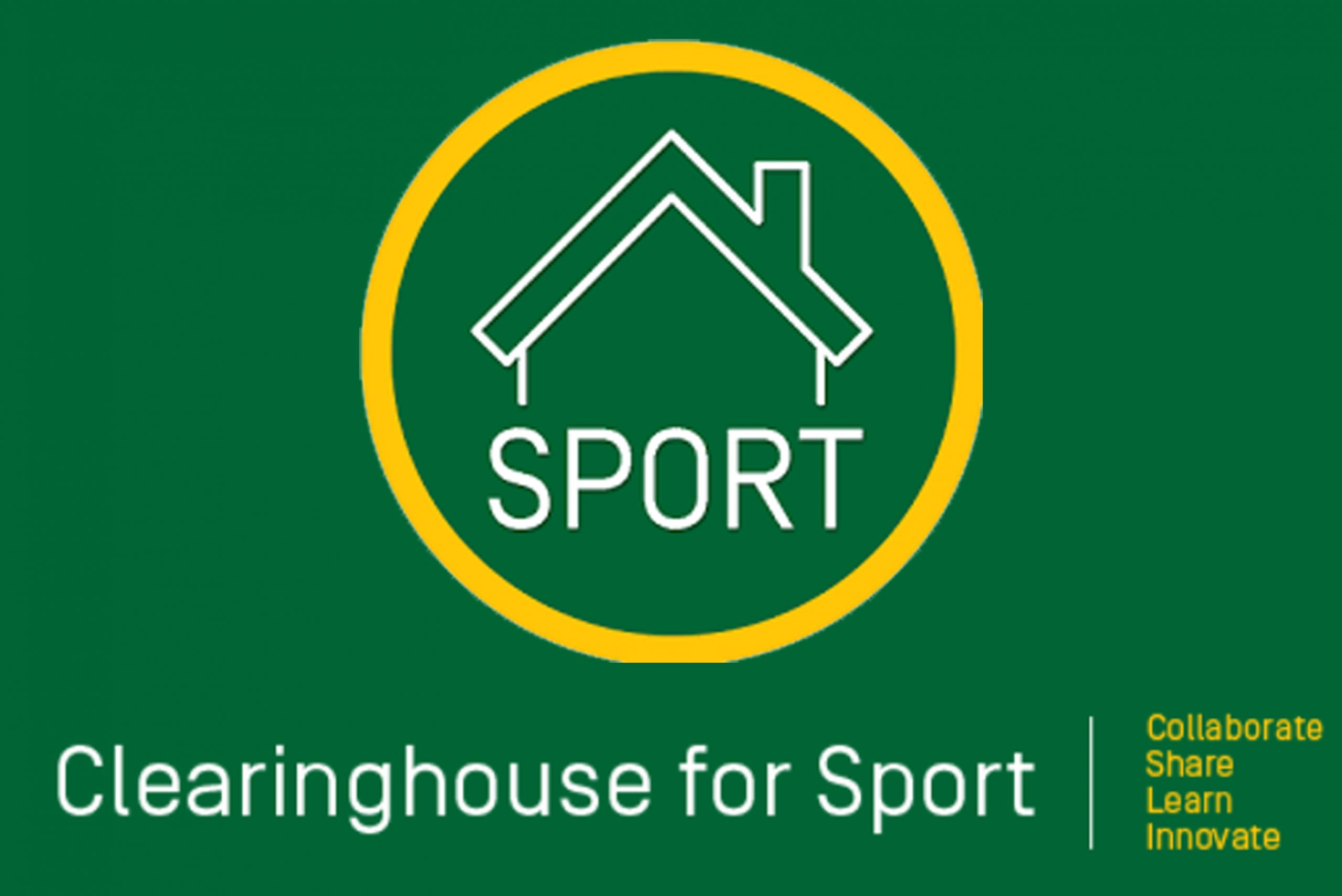 Green background with a graphic of the outline of a house with a yellow circle around it. Text underneath says Sport - Clearinghouse for Sort. Collaborate, share, learn, innovate.