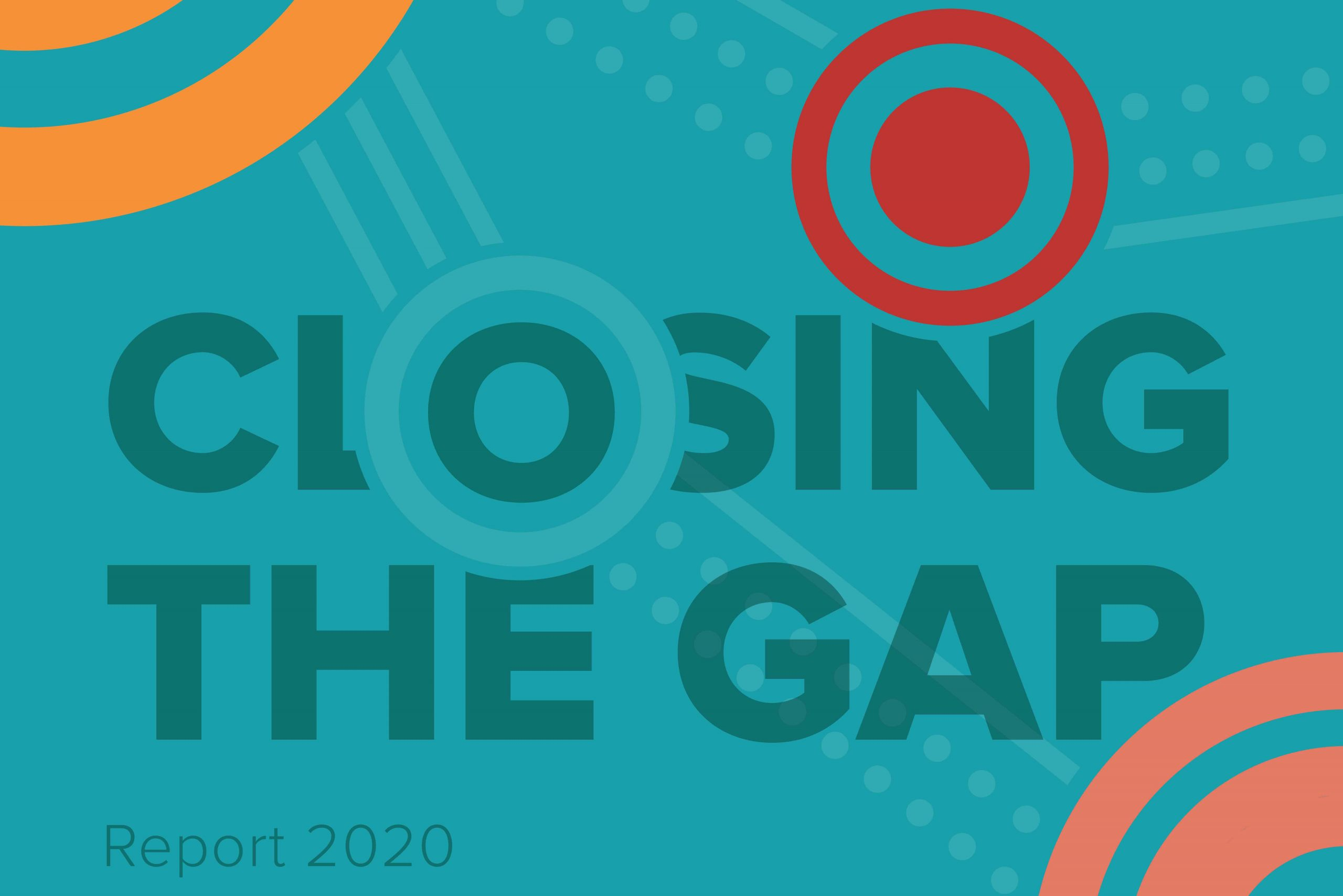 Blue background. Text says Closing the Gap Report 2020