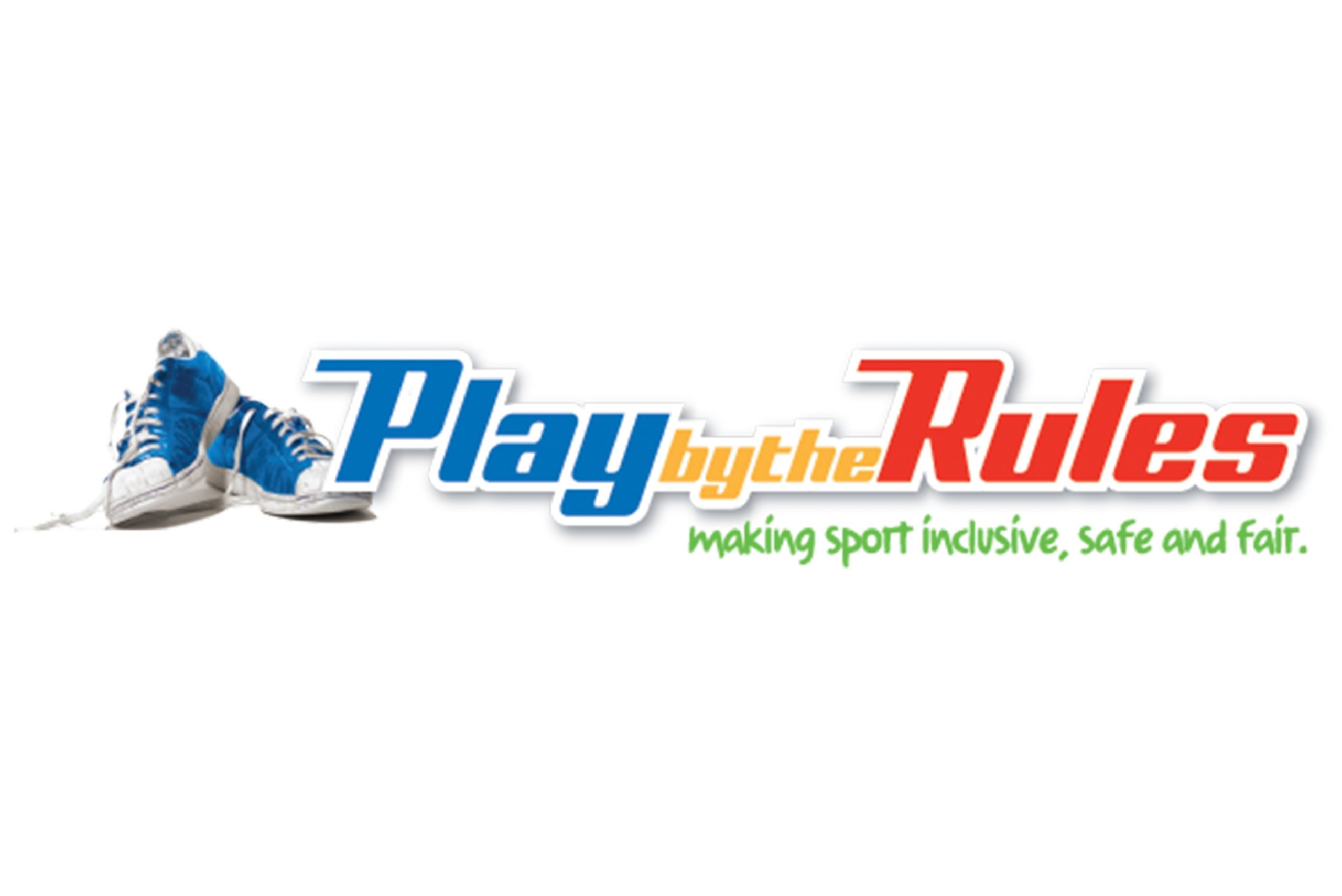 Play by the Rules logo with a pair of blue sports shoes next to text that reads: Play by the Rules making sport inclusive, safe and fair.