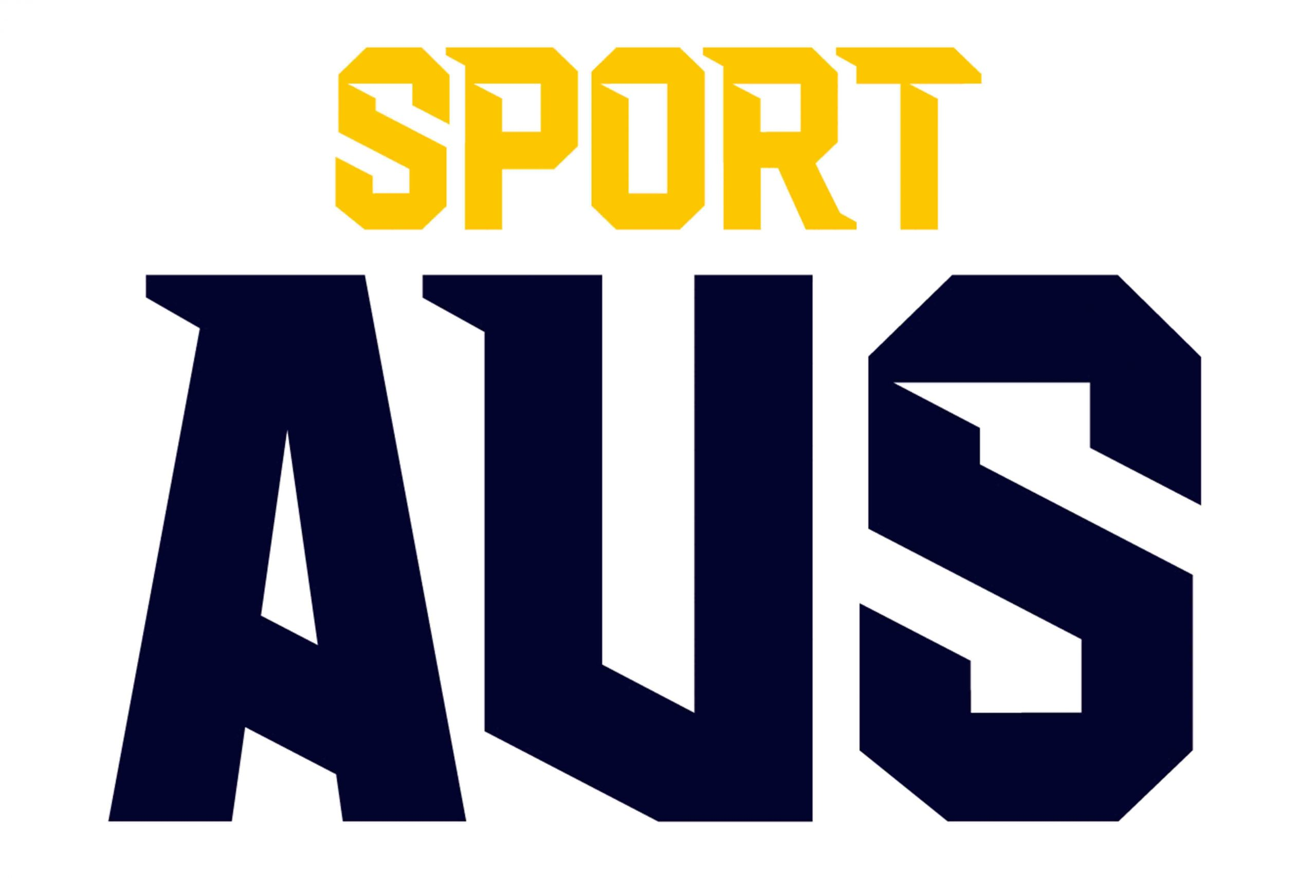 Sport AUstralia logo which isYellow text says Sport dark blue text below says Aus on a white background