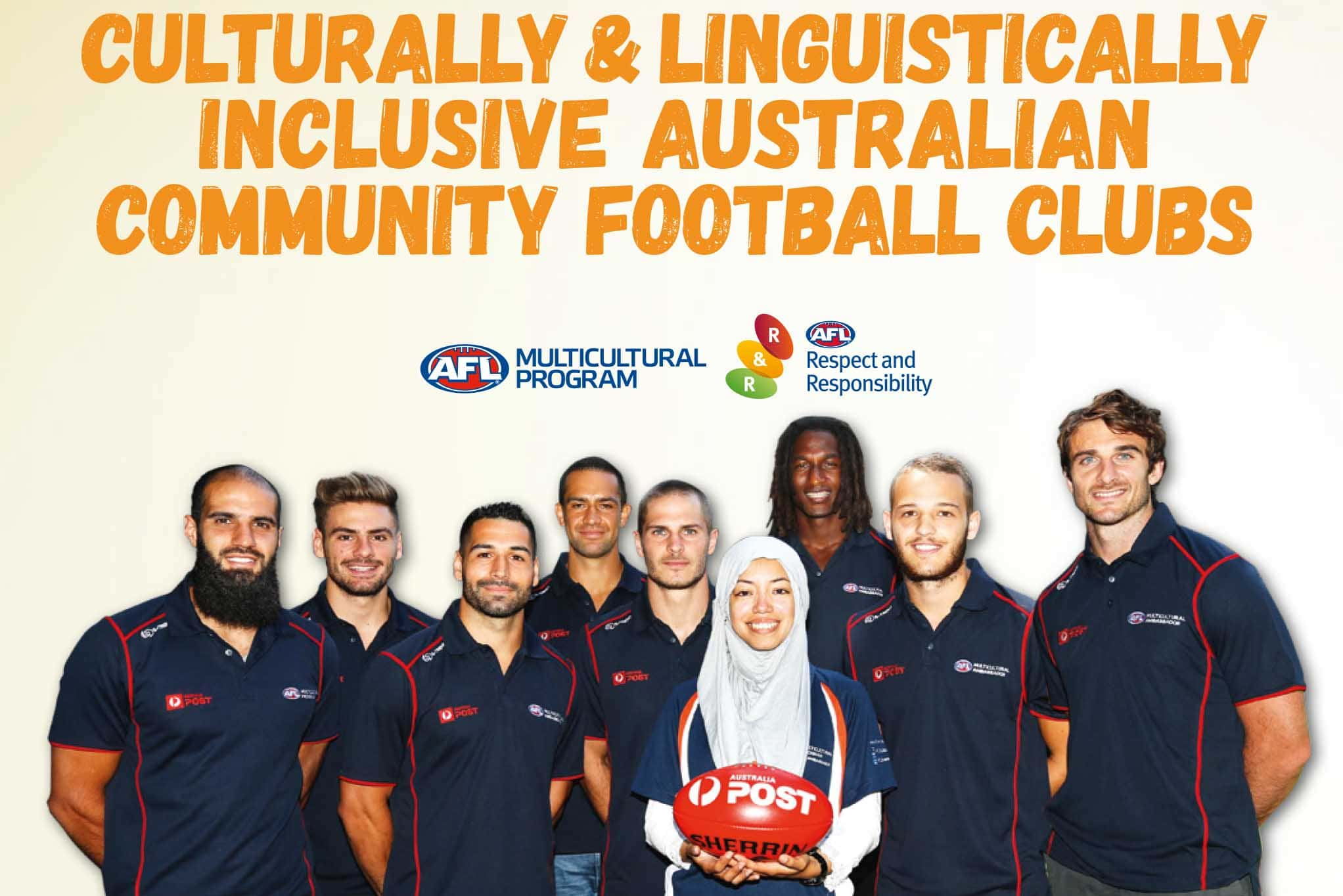 Image of a group of smiling AFL players standing with a young woman wearing a headscarf holding a AFL football. Text reads Culturally and Linguistically inclusive Australian community football clubs. AFL logo is below text.