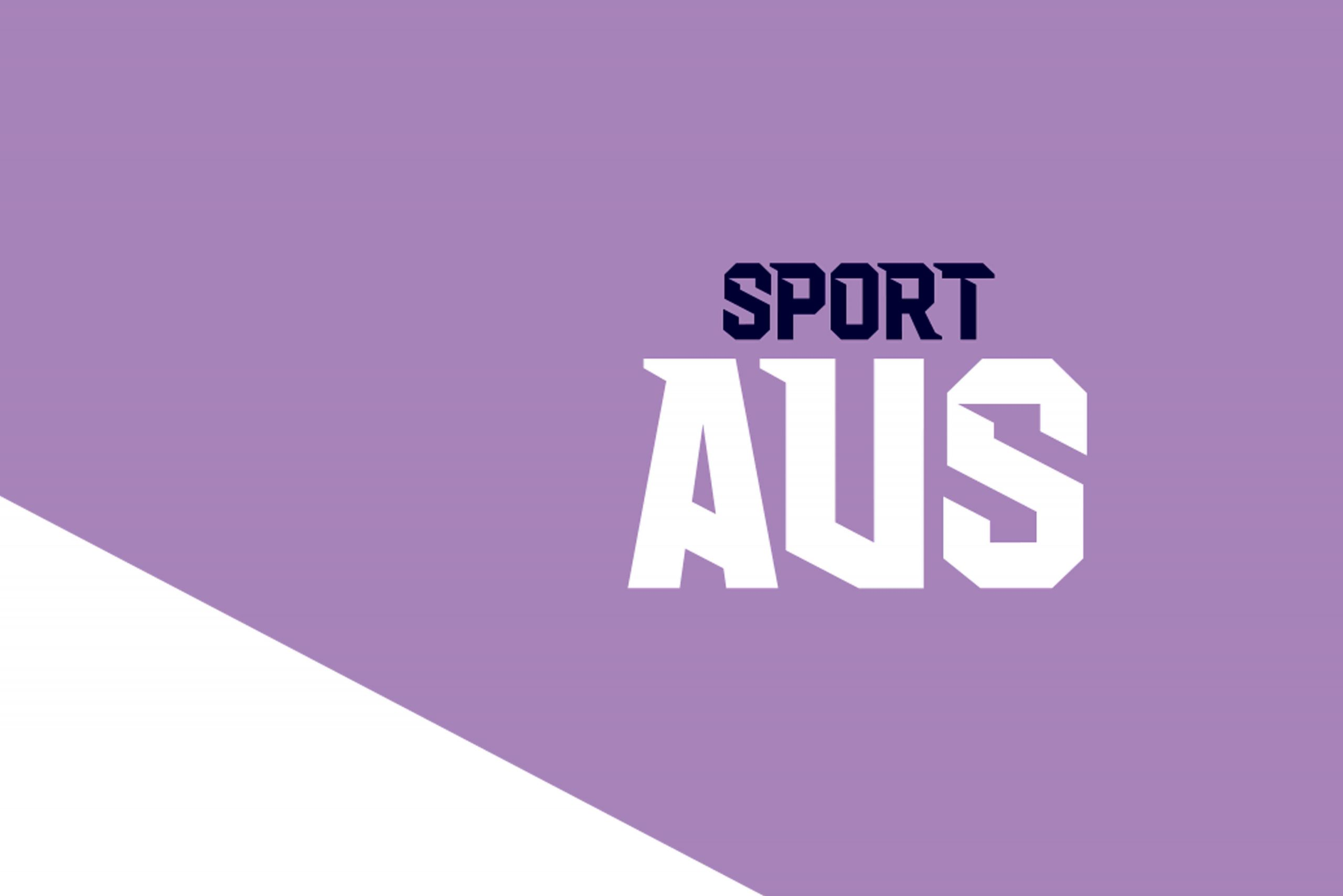 Image of text that reads Sport Aus on a purple and white background