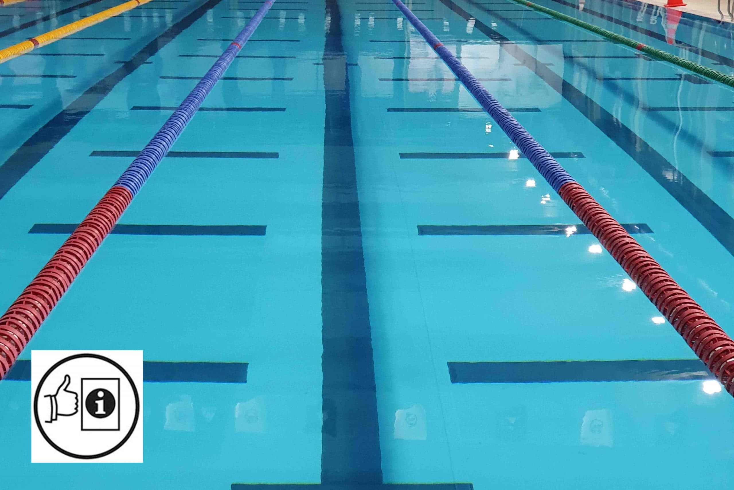 Image of a pool full of water with multiple lane dividers in place. The easy read symbol appears in the bottom left hand corner.