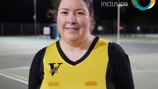 Image of Valley Vikings netball player Kate. The Active Inclusion logo appears in the top right hand corner
