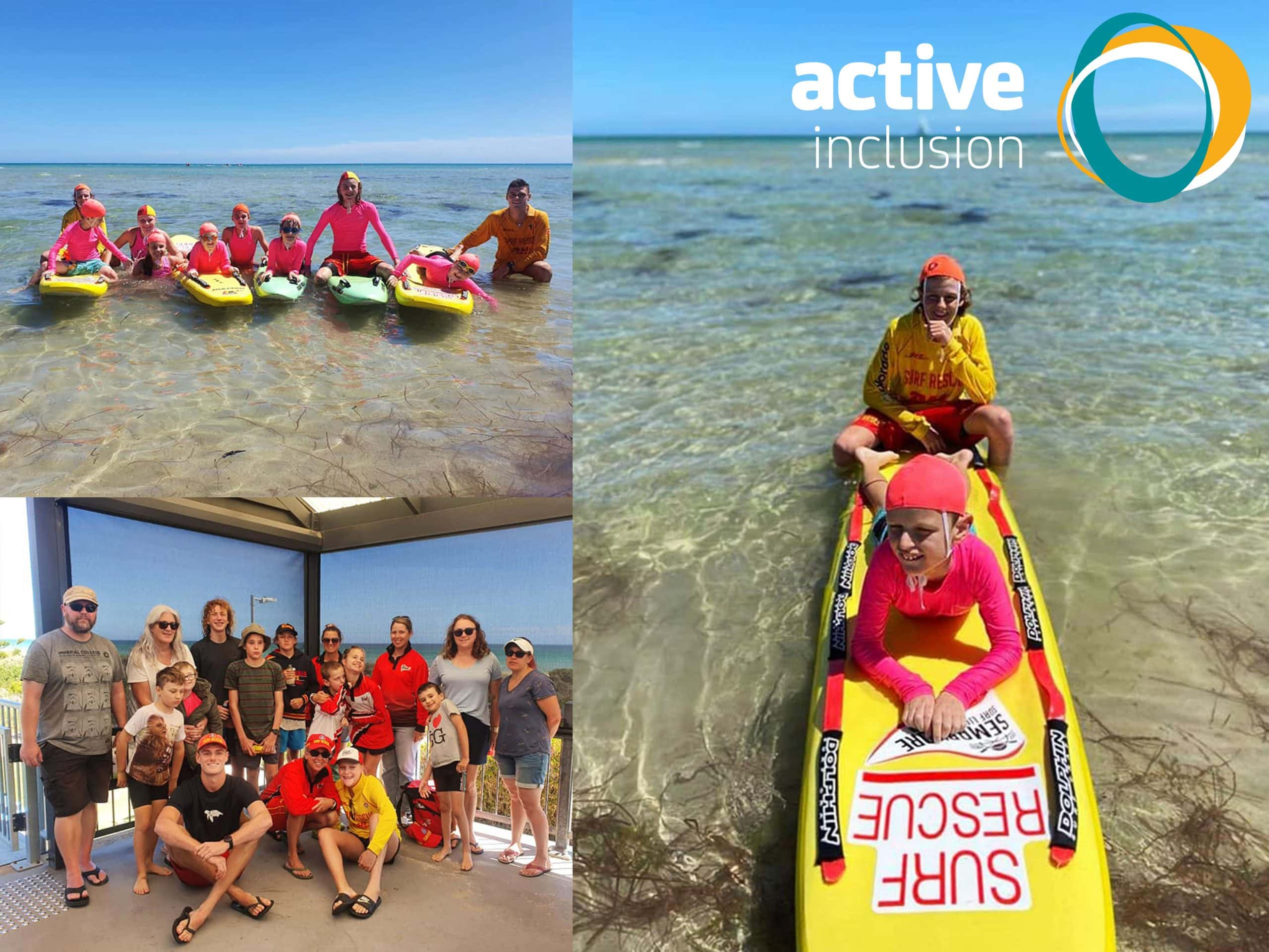 Three images make up graphic. First Image is of young Seabird Nippers members in the shallow water at the beach on surf life saving boards with their program buddies/instructors. Second photo shows a seabird nippers participant and their buddy on a board in the water. Third image shows seabird nippers, their caregivers and program staff together. The Active Inclusion logo appears in the top right hand corner.