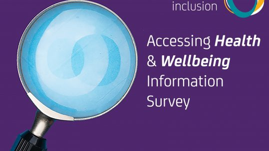 Image on a purple background of a magnifying glass and text reads Accessing Health and Wellbeing Information Survey. The Active Inclusion logo appears at the top and the Wellbeing SA logo at the bottom of the image.
